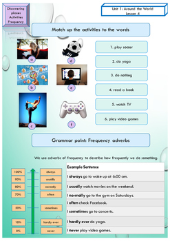 ESL EAL introduction, hobbies, frequency adverbs printable activities