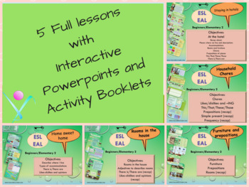 ESL EAL bundle House, rooms, furniture: interactive and printables activities