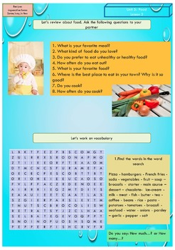 ESL EAL food: some-any-a few,  food recipes, ingredients, cooking verbs