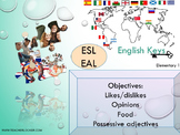 ESL EAL introduction: food, likes-opinions, nationalities-countries