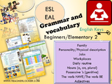ESL EAL Grammar and vocabulary possessive's, jobs, physical description, family