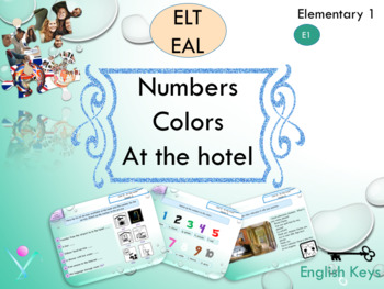 ESL EAL introductory lesson about numbers and colors interactive activities