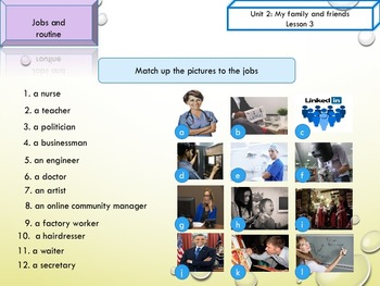 ESL EAL jobs, daily routine, simple present printable and interactive activities