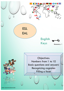 ESL EAL numbers 1-10, verb TO BE, Unit 1 lesson 2 booklet