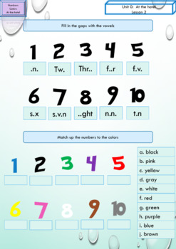 ESL EAL numbers and colors printables and interactive activities