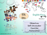 ESL EAL introduction: countries-nationalities, greetings, alphabet