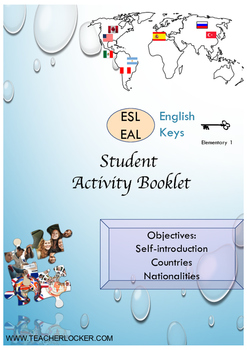 ESL EAL introduction, countries-nationalities Unit 1 lesson 1 booklet beginners