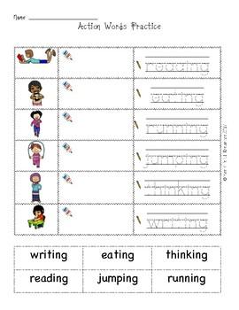 ESL/EFL Action Words activities and emergent reader