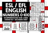 ESL EFL ELL ENGLISH NUMBERS 0-100 TASK CARDS