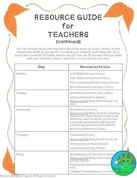 ESL/EFL/ESOL Fall-Themed Lesson Pack
