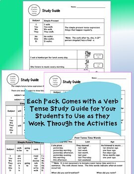 ESL Newcomer Activities English Grammar Verbs Bundle Present Past Future  Tense
