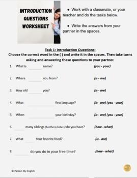 ESL / EFL  Lesson 1 - Worksheet / Assessment - to be- and Possessive Pronouns