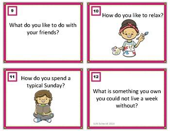 English Conversation Starter Task Cards (Grades 7-12) ESL / EFL / ELL