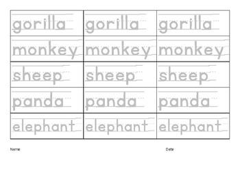 ESL, EFL downloadable, printable worksheets, Letter tracing, Writing - Animals