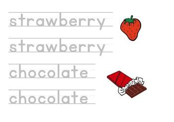 ESL, EFL printable worksheets, Letter tracing, Writing - Chocolate Yummy Tummy