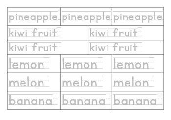 ESL, EFL printable worksheets, Letter tracing, Writing - fruit and vegetable