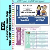 ESL & ELD K-5 Curriculum Map - a year long pacing guide!