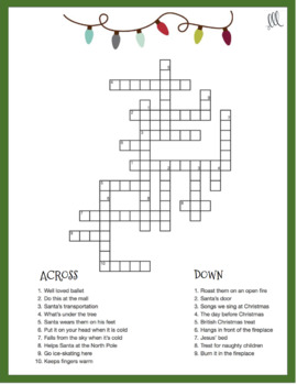 ESL - ELL Christmas Crossword Puzzle
