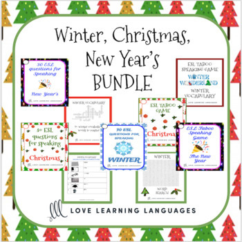 ESL - ELL Christmas, Winter and New Year's Speaking Games and Activities Bundle
