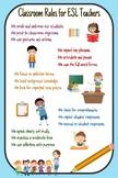 ESL ELL Classroom Teacher Talk Best Practices Poster K-12