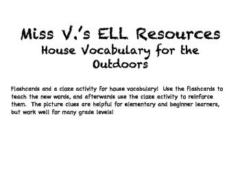 ESL/ELL House Vocabulary Flashcards and Cloze Activity