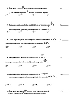 ESL/ELL Spanish Translated Exponents TEST Algebra 1 Common Core