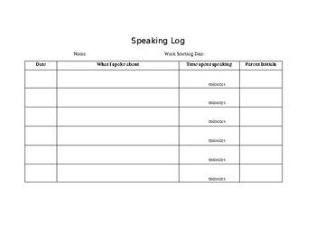 ESL/ELL Speaking Log