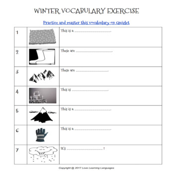 ESL - ELL Winter Vocabulary + Exercices + Quizlet Study Set