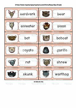 ESL/ELL Word Walls: Mammals