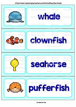 ESL/ELL Word Walls: Sea Creatures