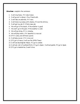 ESL ENL First Conditional Worksheet with Answer Key