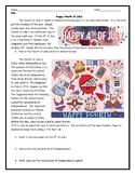 ESL ENL Fourth of July Reading Worksheet with Answer Key