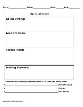 ESL/ENL Parent Teacher Conference Progress Report