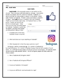 ESL ENL Social Media Reading and Conversation Worksheet