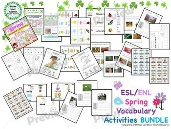 ESL/ENL Spring Vocabulary Activities BUNDLE