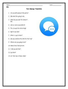 ESL ENL Text Message Quiz with Answer Key