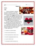 ESL ENL Valentine's Day Reading Comprehension Worksheet