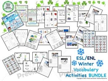 ESL/ENL Winter Vocabulary Activities BUNDLE