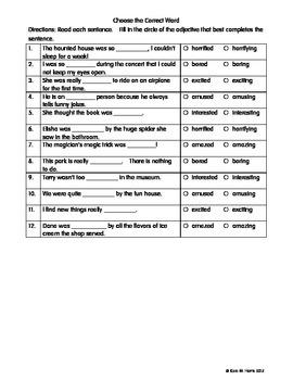 ESL / ESOL Adjectives Ending in ED and ING worksheets