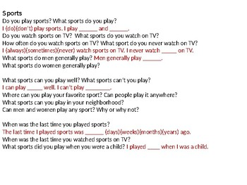 ESL Elementary: Sports Vocabulary and Speaking Questions