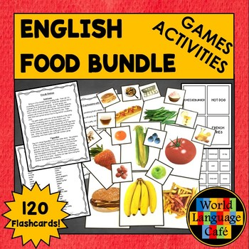 English, ESL, ELL, ENL Foods Flashcards and Games