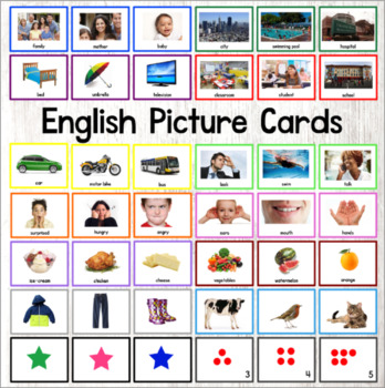 English Word Cards ESL ELL