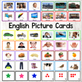 English Word Picture Cards ESL with and without words