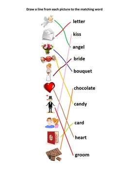 ESL English worksheet noodle puzzle Valentine's Day