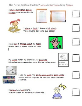 ESL English/Spanish Informational Writing Checklist