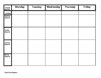 ESL Extended Lesson Plan Template