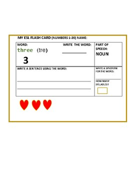 ESL FLASH CARDS: ENGLISH/ ALBANIAN: NUMBERS 1-20 WITH GRAPHICS/SET OF 20