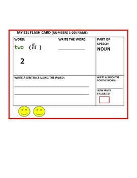 ESL FLASH CARDS: ENGLISH/ KHMER (CAMBODIAN) 1-20  SET OF 20