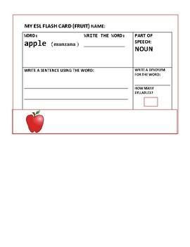 ESL FLASH CARDS:ENGLISH/ SPANISH: NOUNS: FRUIT: SET OF 10