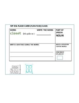 ESL FLASH CARDS: ENGLISH/ VIETNAMESE: FURNITURE: NOUNS: SET OF 10